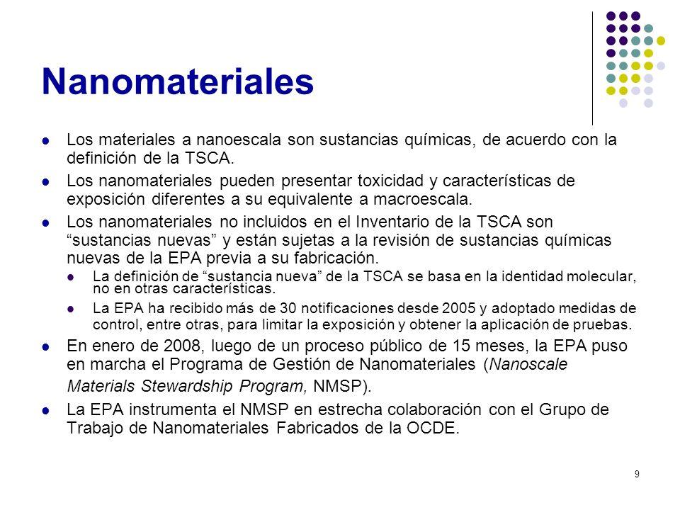 Nanomateriales Los materiales a nanoescala son sustancias químicas, de acuerdo con la definición de la TSCA.