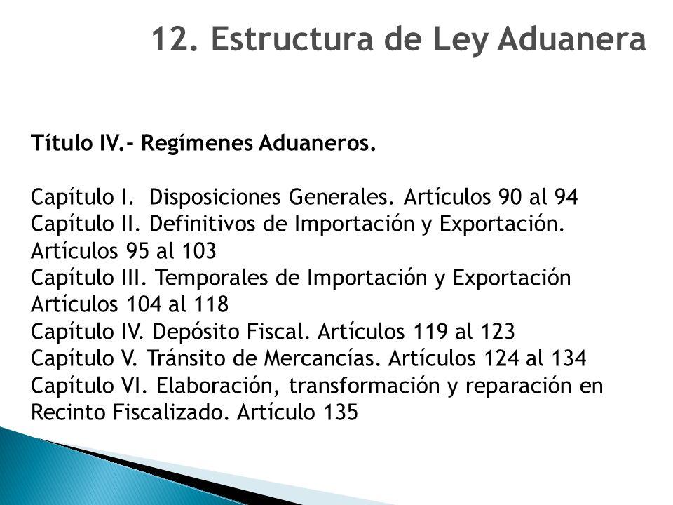12. Estructura de Ley Aduanera