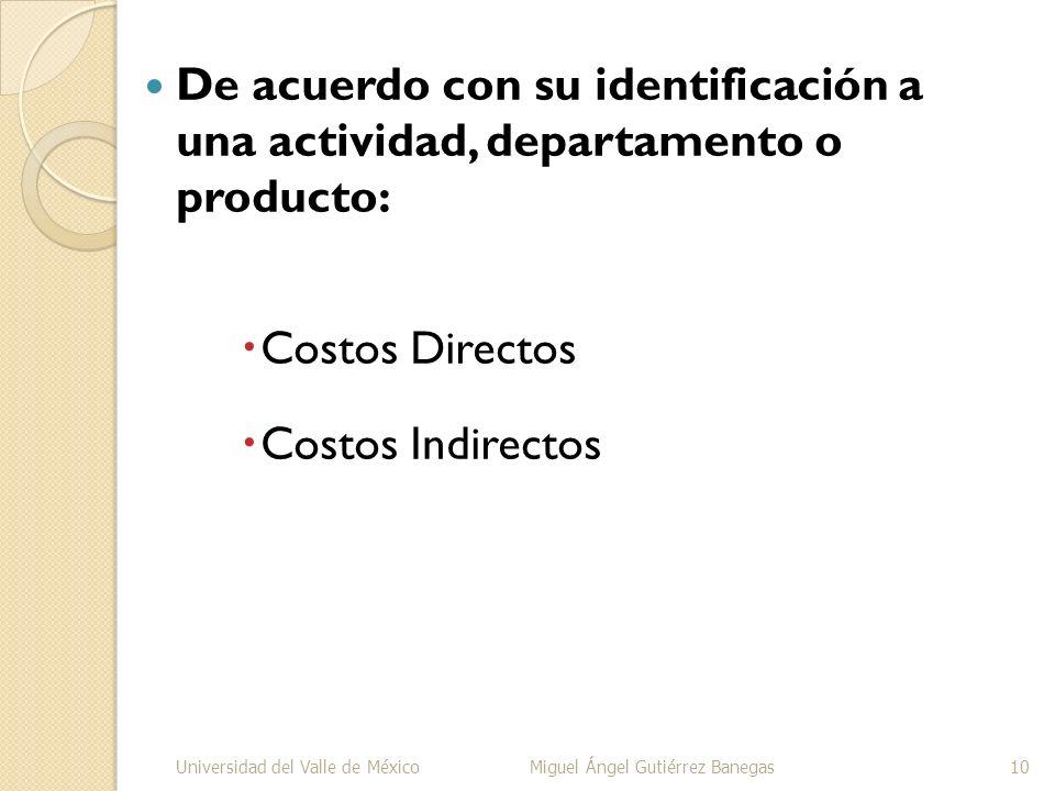 De acuerdo con su identificación a una actividad, departamento o producto: