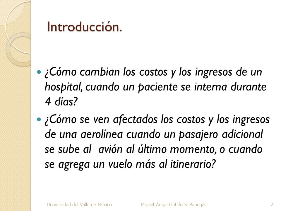 Introducción. ¿Cómo cambian los costos y los ingresos de un hospital, cuando un paciente se interna durante 4 días