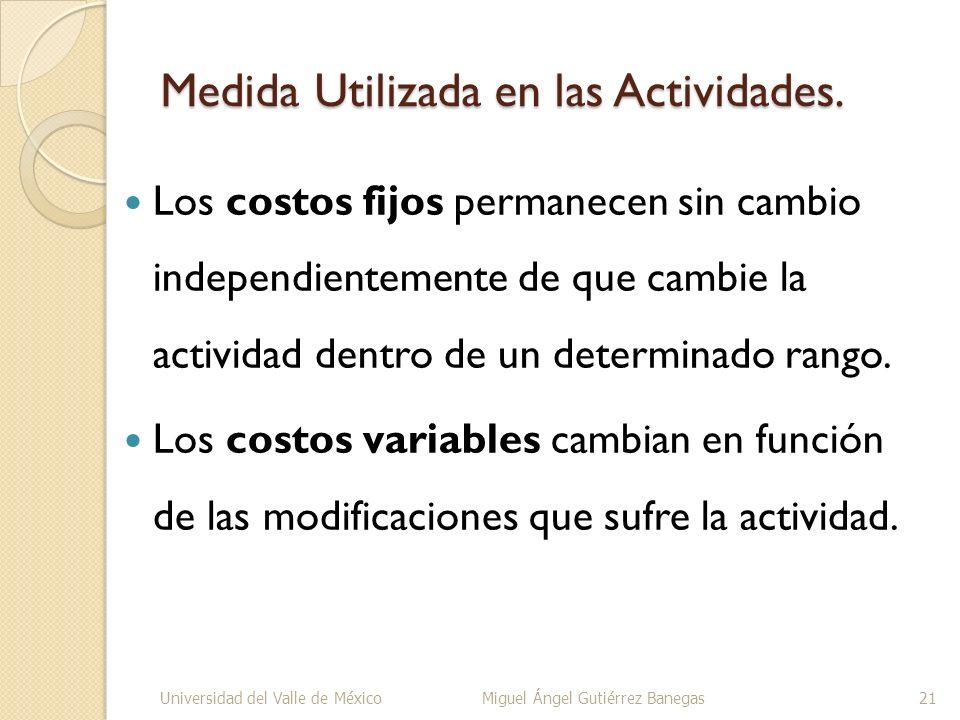 Medida Utilizada en las Actividades.