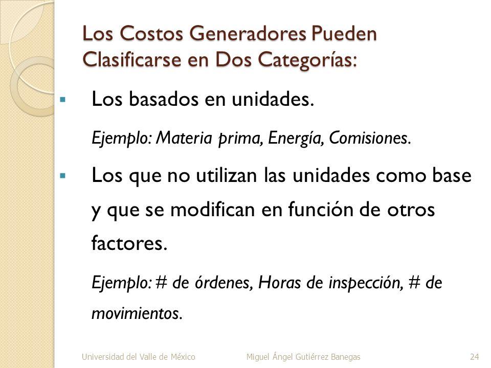 Los Costos Generadores Pueden Clasificarse en Dos Categorías:
