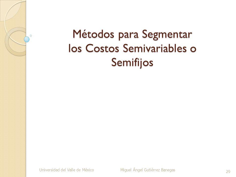 Métodos para Segmentar los Costos Semivariables o Semifijos