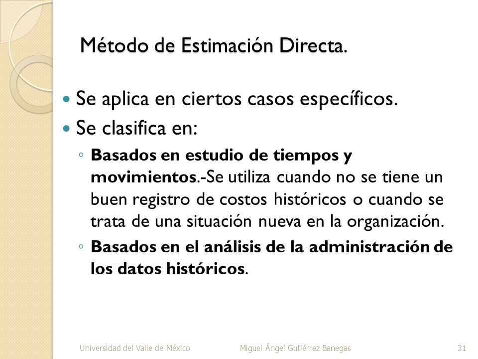 Método de Estimación Directa.