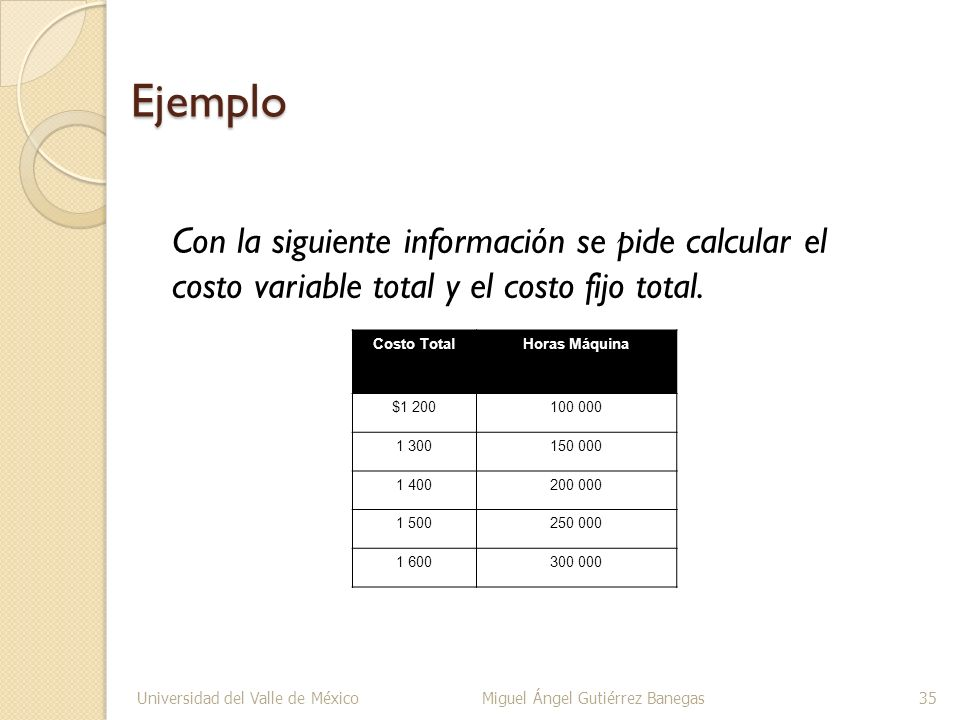 Ejemplo Con la siguiente información se pide calcular el costo variable total y el costo fijo total.