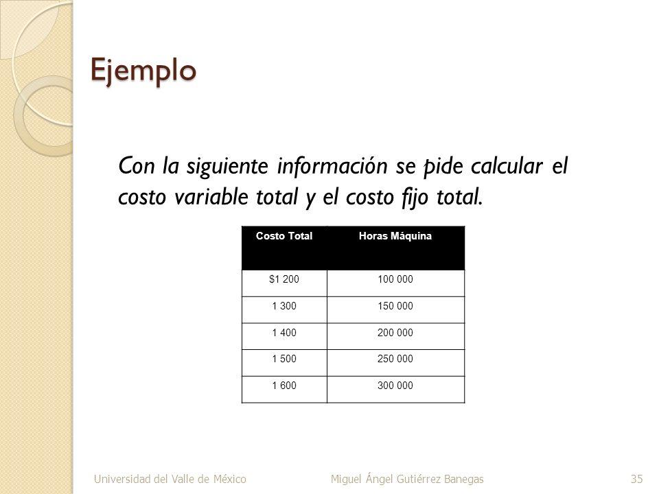 EjemploCon la siguiente información se pide calcular el costo variable total y el costo fijo total.