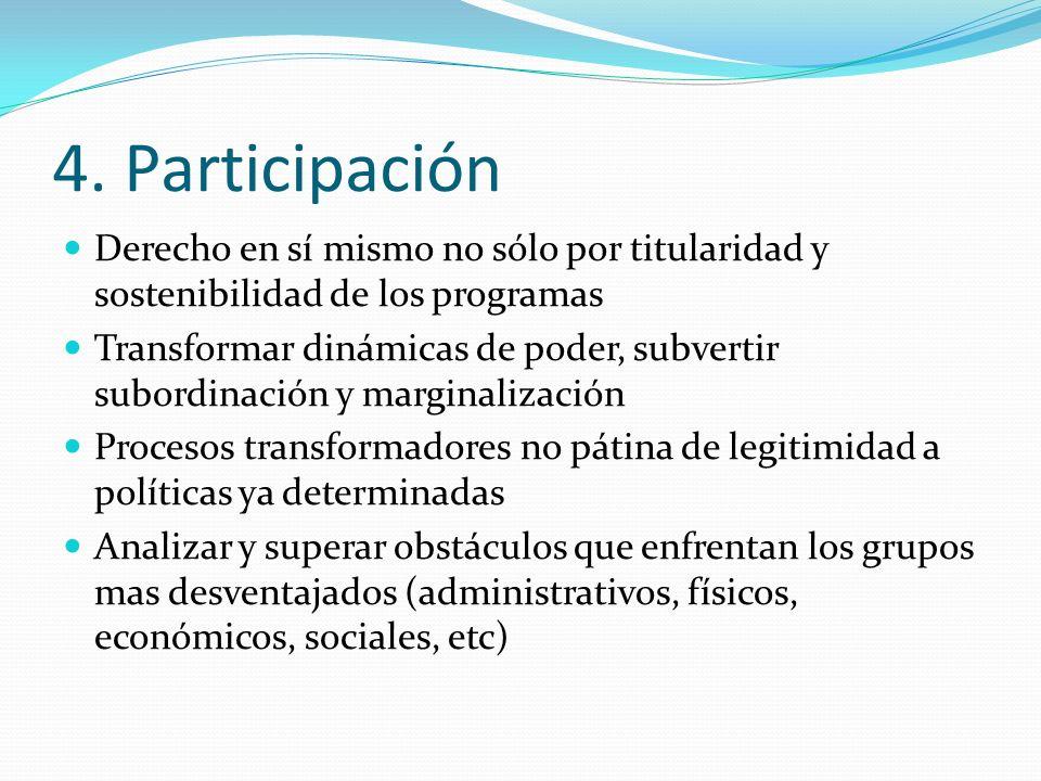 4. Participación Derecho en sí mismo no sólo por titularidad y sostenibilidad de los programas.