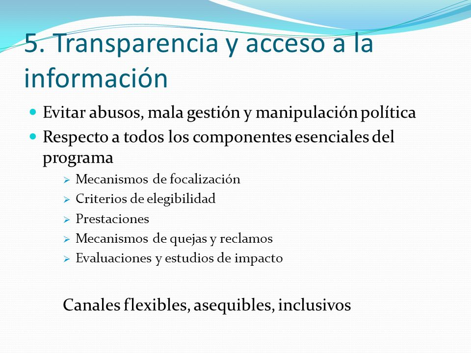 5. Transparencia y acceso a la información