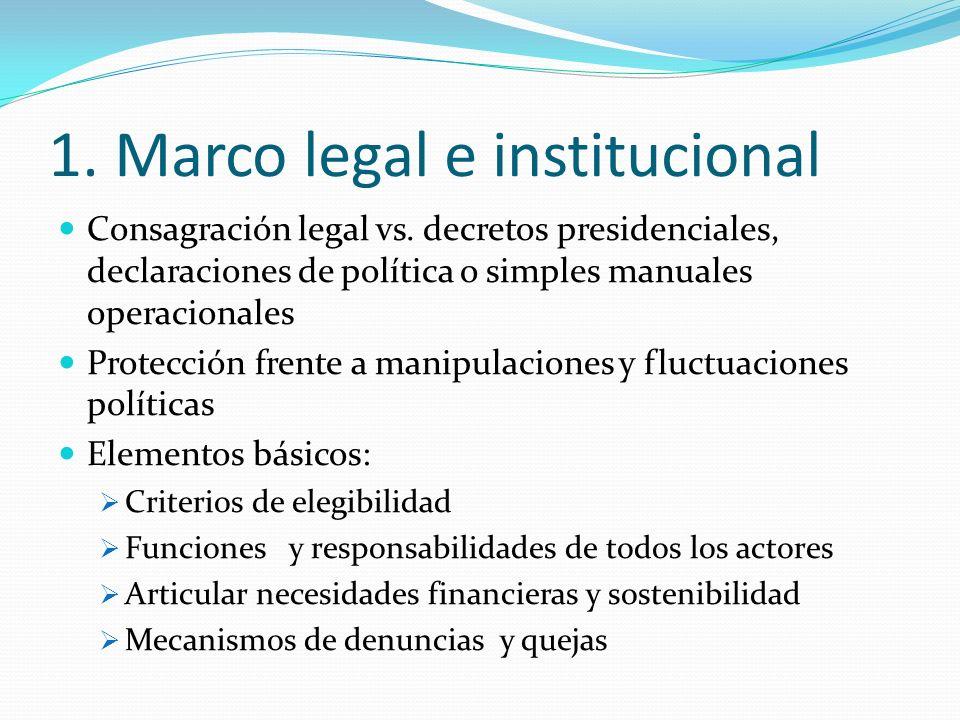 1. Marco legal e institucional