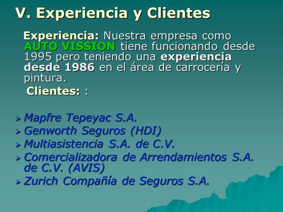 V. Experiencia y Clientes