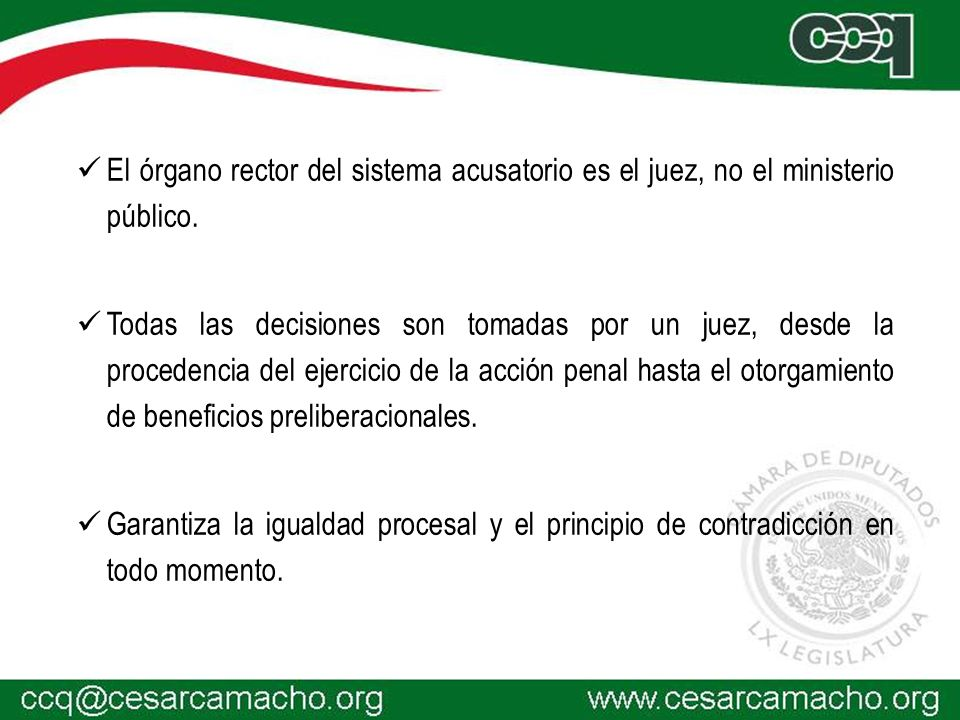 El órgano rector del sistema acusatorio es el juez, no el ministerio público.