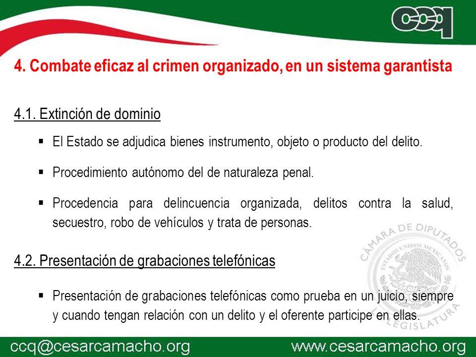 4. Combate eficaz al crimen organizado, en un sistema garantista
