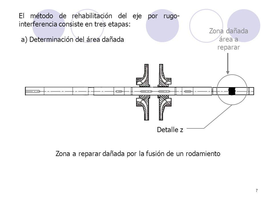 Zona dañada área a reparar a) Determinación del área dañada