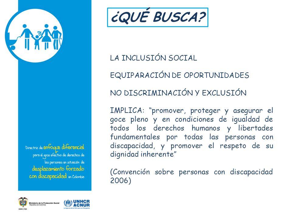 ¿QUÉ BUSCA LA INCLUSIÓN SOCIAL EQUIPARACIÓN DE OPORTUNIDADES
