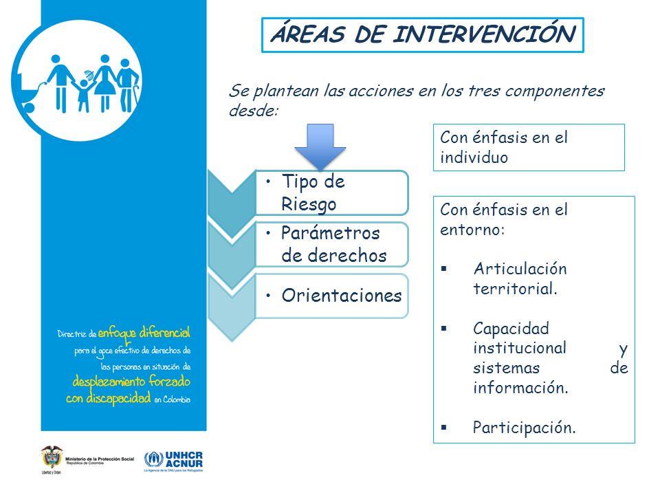 ÁREAS DE INTERVENCIÓN Tipo de Riesgo Parámetros de derechos