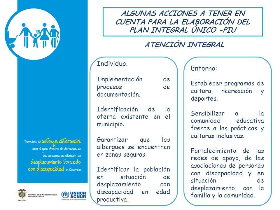 ALGUNAS ACCIONES A TENER EN CUENTA PARA LA ELABORACIÓN DEL PLAN INTEGRAL ÚNICO -PIU