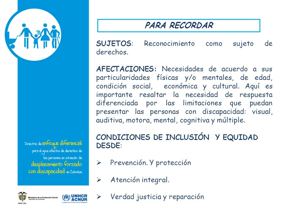 PARA RECORDAR SUJETOS: Reconocimiento como sujeto de derechos.