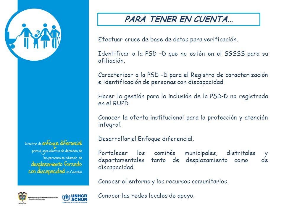 PARA TENER EN CUENTA… Efectuar cruce de base de datos para verificación. Identificar a la PSD –D que no estén en el SGSSS para su afiliación.