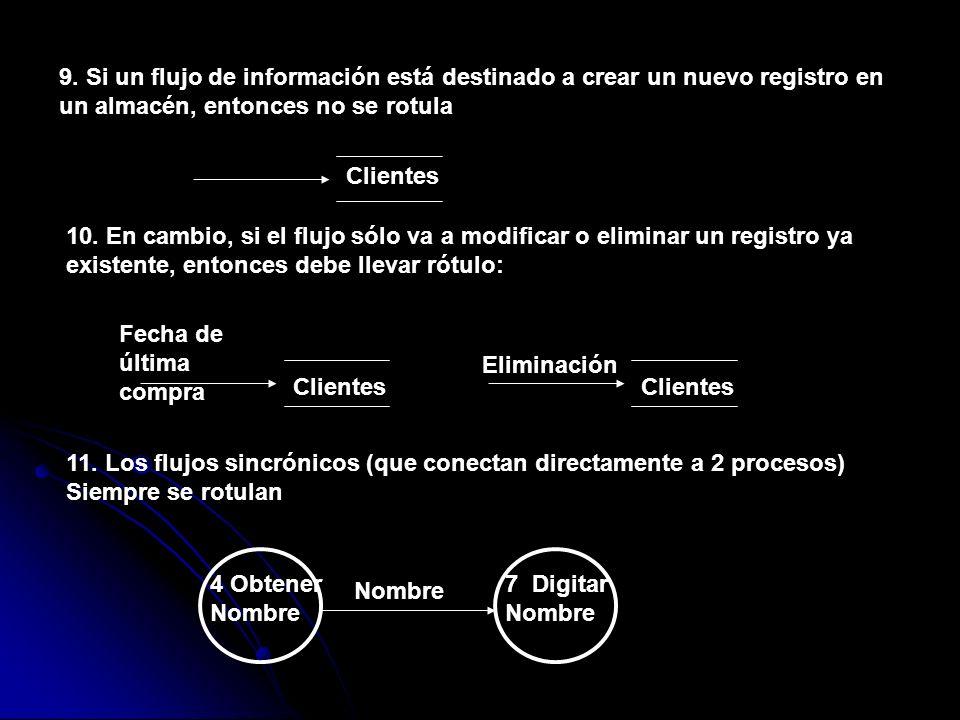9. Si un flujo de información está destinado a crear un nuevo registro en un almacén, entonces no se rotula