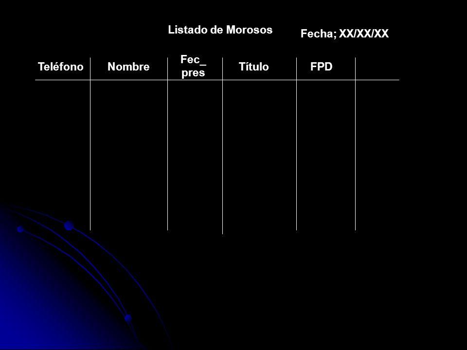 Listado de Morosos Fecha; XX/XX/XX Fec_ pres Teléfono Nombre Título FPD