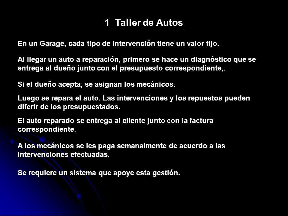1 Taller de Autos En un Garage, cada tipo de intervención tiene un valor fijo.