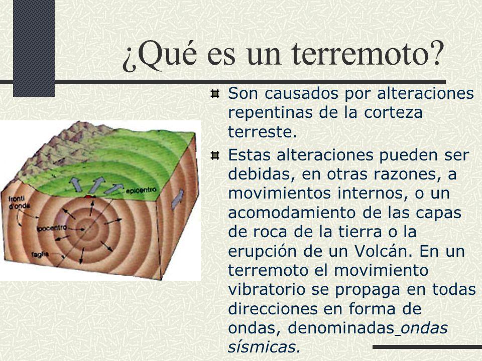 ¿Qué es un terremoto Son causados por alteraciones repentinas de la corteza terreste.