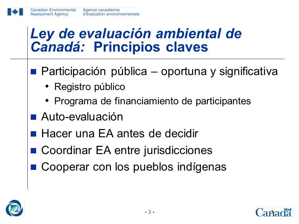 Ley de evaluación ambiental de Canadá: Principios claves