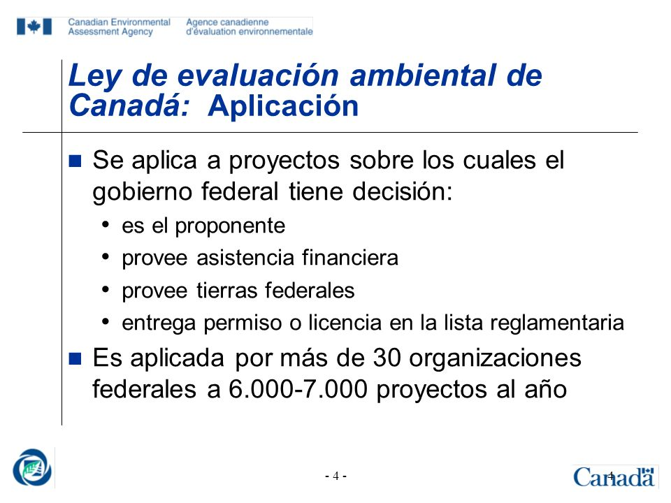 Ley de evaluación ambiental de Canadá: Aplicación