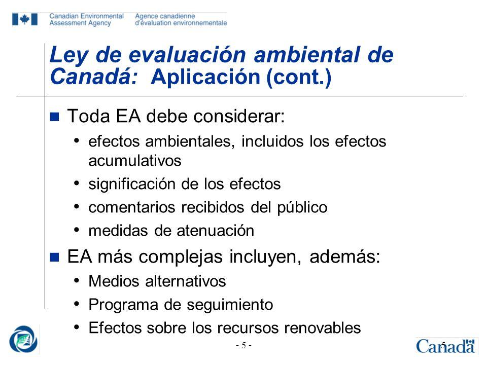 Ley de evaluación ambiental de Canadá: Aplicación (cont.)