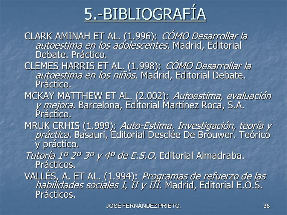 5.-BIBLIOGRAFÍA CLARK AMINAH ET AL. (1.996): CÓMO Desarrollar la autoestima en los adolescentes. Madrid, Editorial Debate. Práctico.