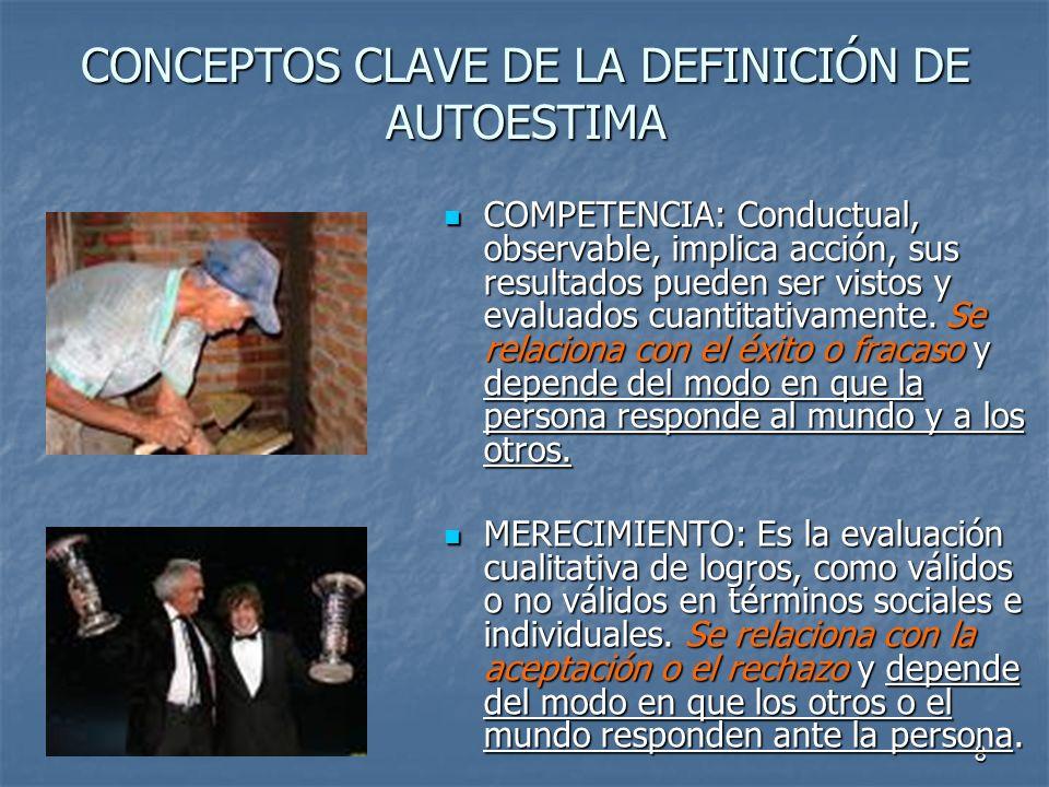 CONCEPTOS CLAVE DE LA DEFINICIÓN DE AUTOESTIMA