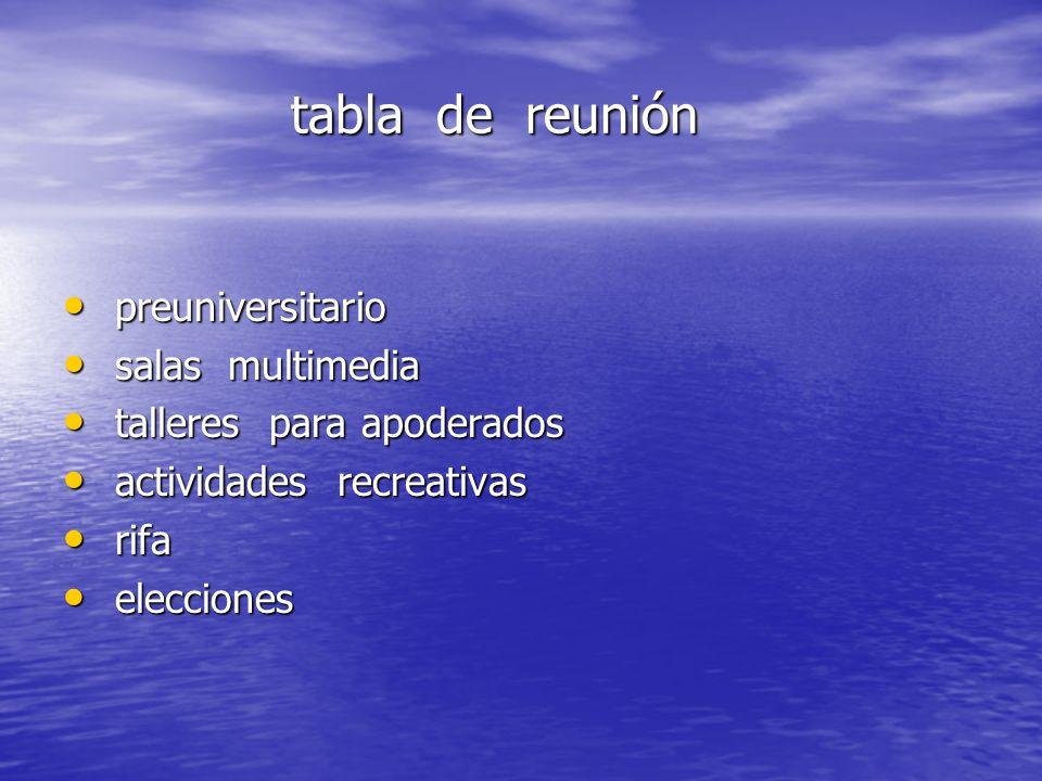 tabla de reunión preuniversitario salas multimedia