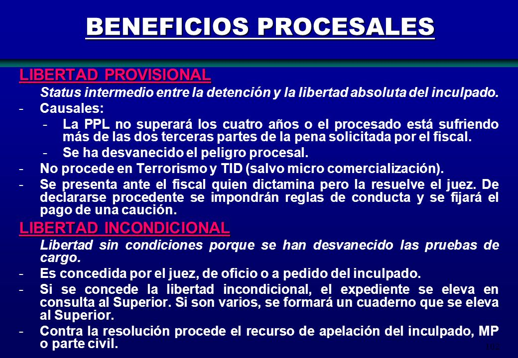 BENEFICIOS PROCESALES