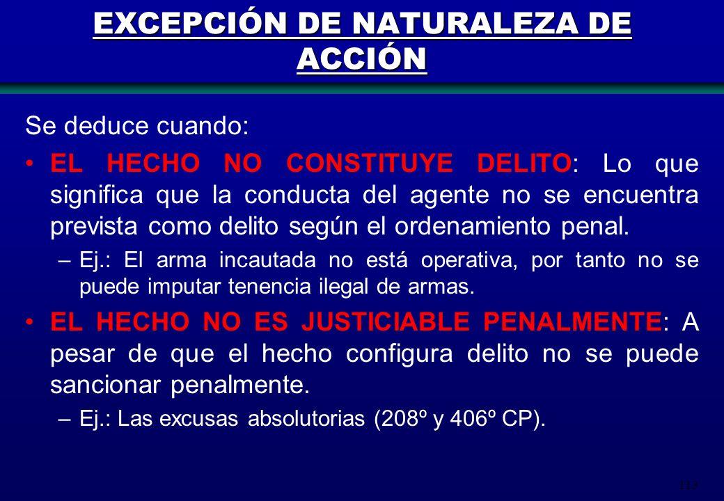 EXCEPCIÓN DE NATURALEZA DE ACCIÓN