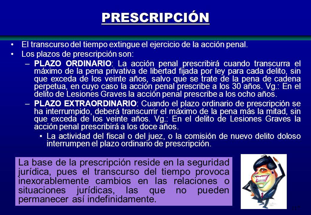 PRESCRIPCIÓN El transcurso del tiempo extingue el ejercicio de la acción penal. Los plazos de prescripción son: