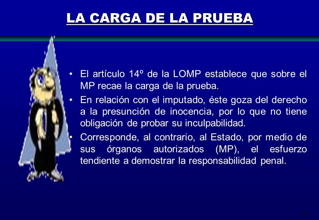 LA CARGA DE LA PRUEBA El artículo 14º de la LOMP establece que sobre el MP recae la carga de la prueba.