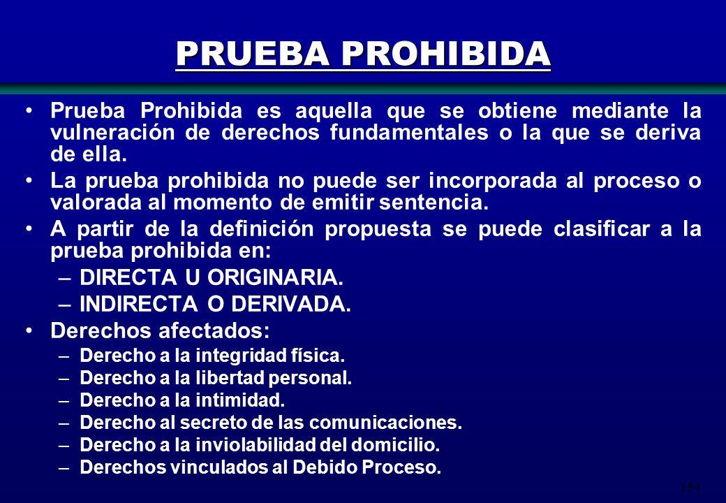 PRUEBA PROHIBIDA Prueba Prohibida es aquella que se obtiene mediante la vulneración de derechos fundamentales o la que se deriva de ella.