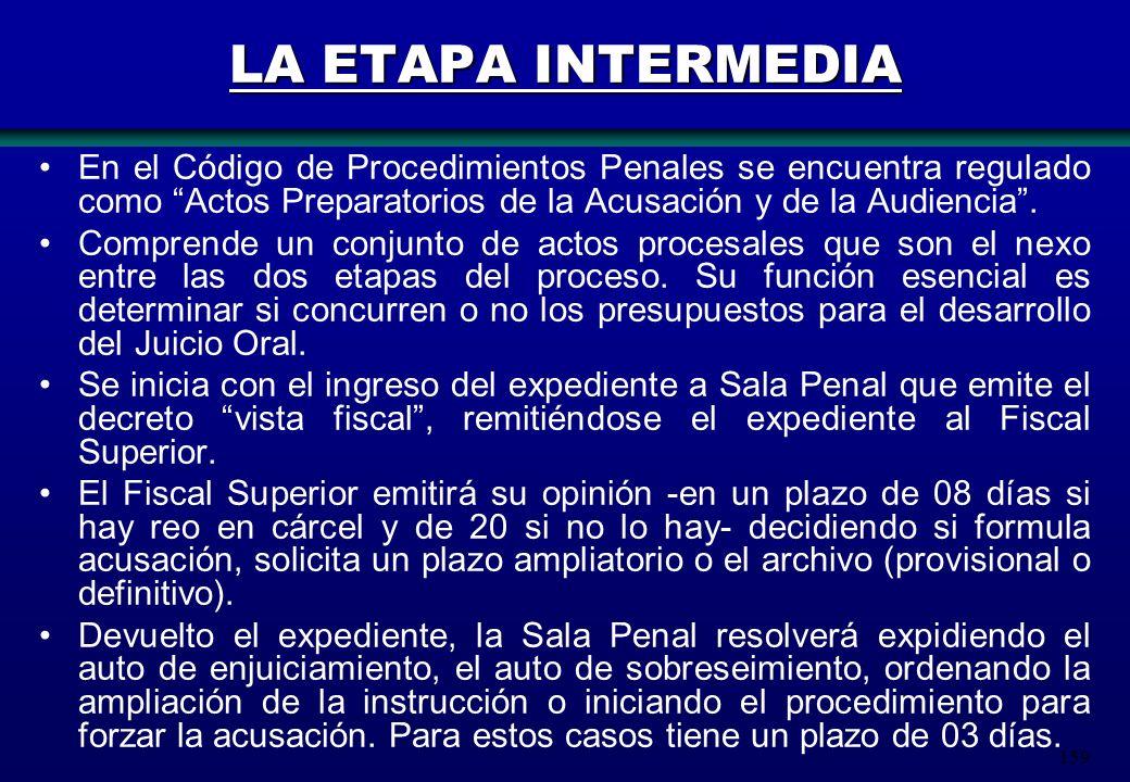 LA ETAPA INTERMEDIA En el Código de Procedimientos Penales se encuentra regulado como Actos Preparatorios de la Acusación y de la Audiencia .