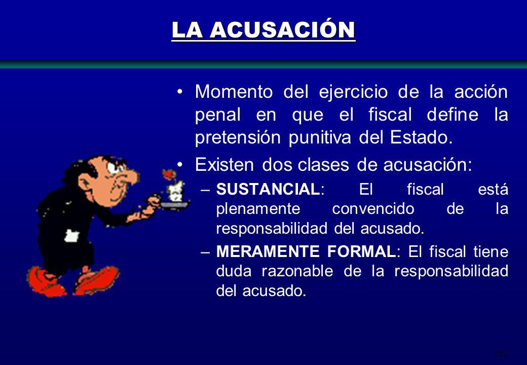 LA ACUSACIÓN Momento del ejercicio de la acción penal en que el fiscal define la pretensión punitiva del Estado.