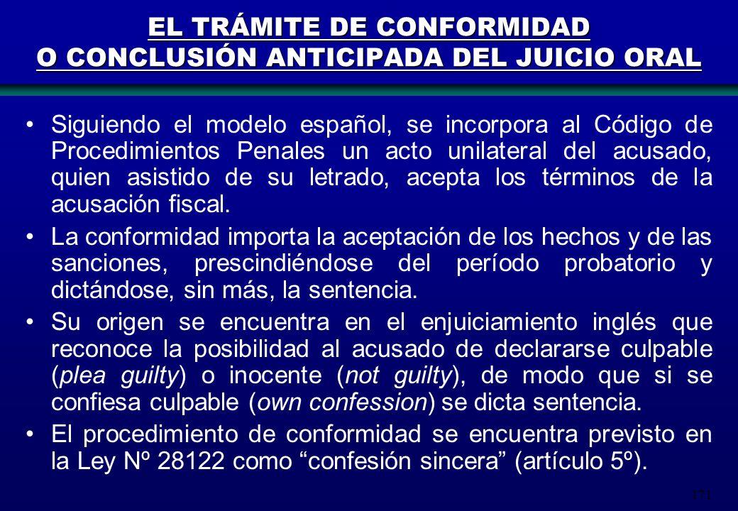 EL TRÁMITE DE CONFORMIDAD O CONCLUSIÓN ANTICIPADA DEL JUICIO ORAL