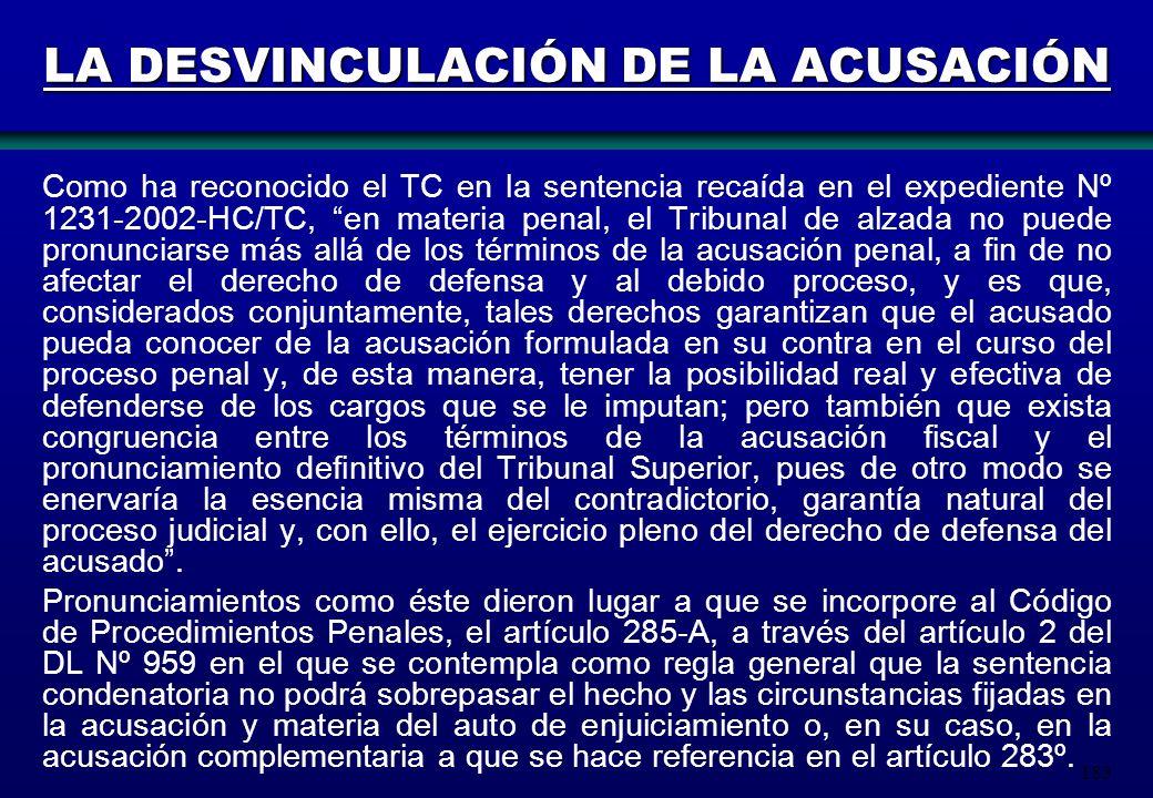 LA DESVINCULACIÓN DE LA ACUSACIÓN