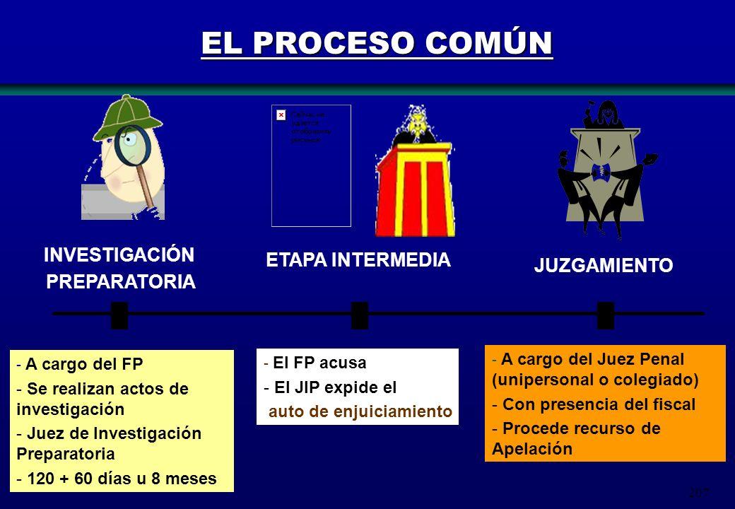 EL PROCESO COMÚN INVESTIGACIÓN ETAPA INTERMEDIA PREPARATORIA