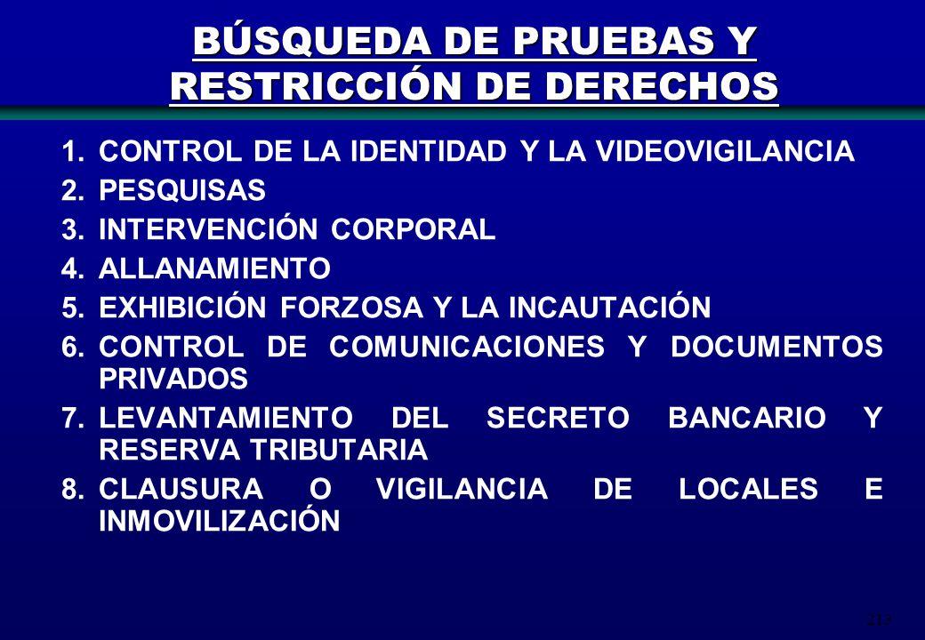 BÚSQUEDA DE PRUEBAS Y RESTRICCIÓN DE DERECHOS