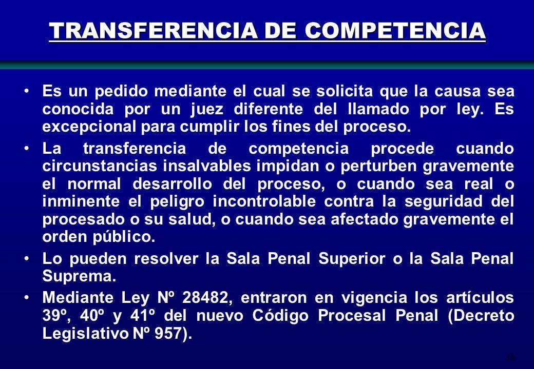 TRANSFERENCIA DE COMPETENCIA