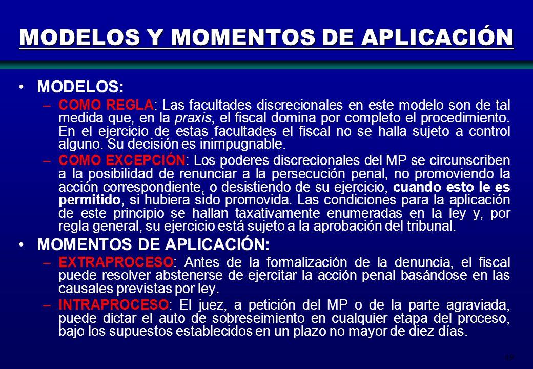 MODELOS Y MOMENTOS DE APLICACIÓN