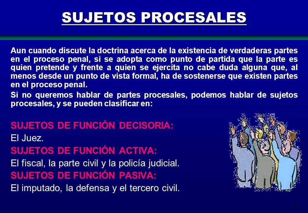 SUJETOS PROCESALES SUJETOS DE FUNCIÓN DECISORIA: El Juez.