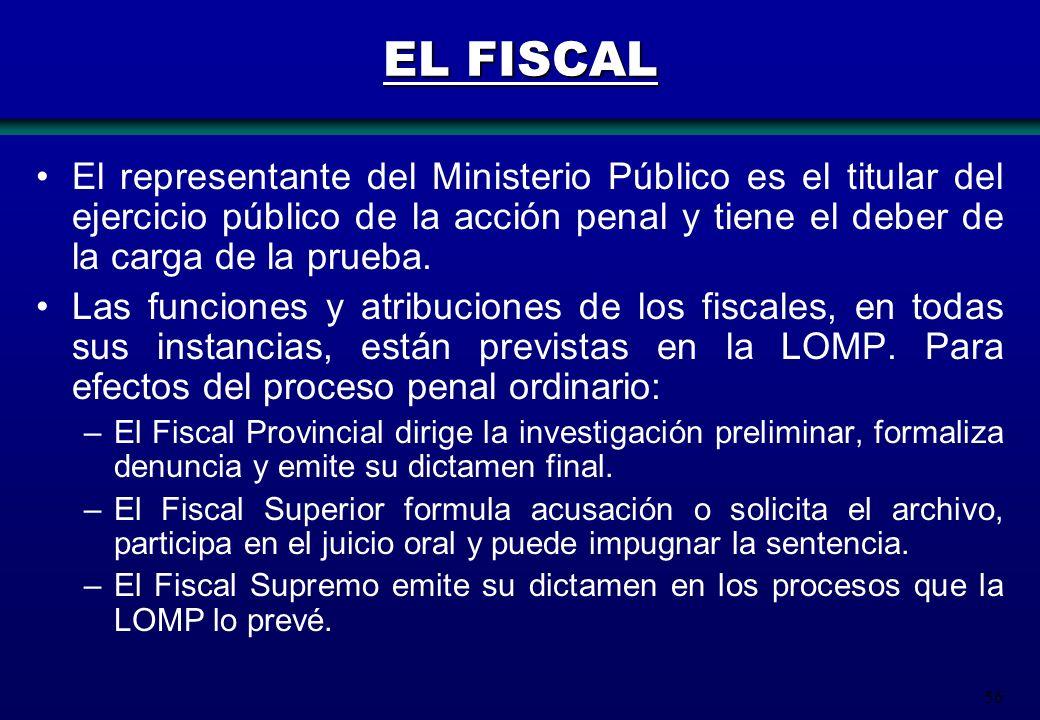 EL FISCAL El representante del Ministerio Público es el titular del ejercicio público de la acción penal y tiene el deber de la carga de la prueba.