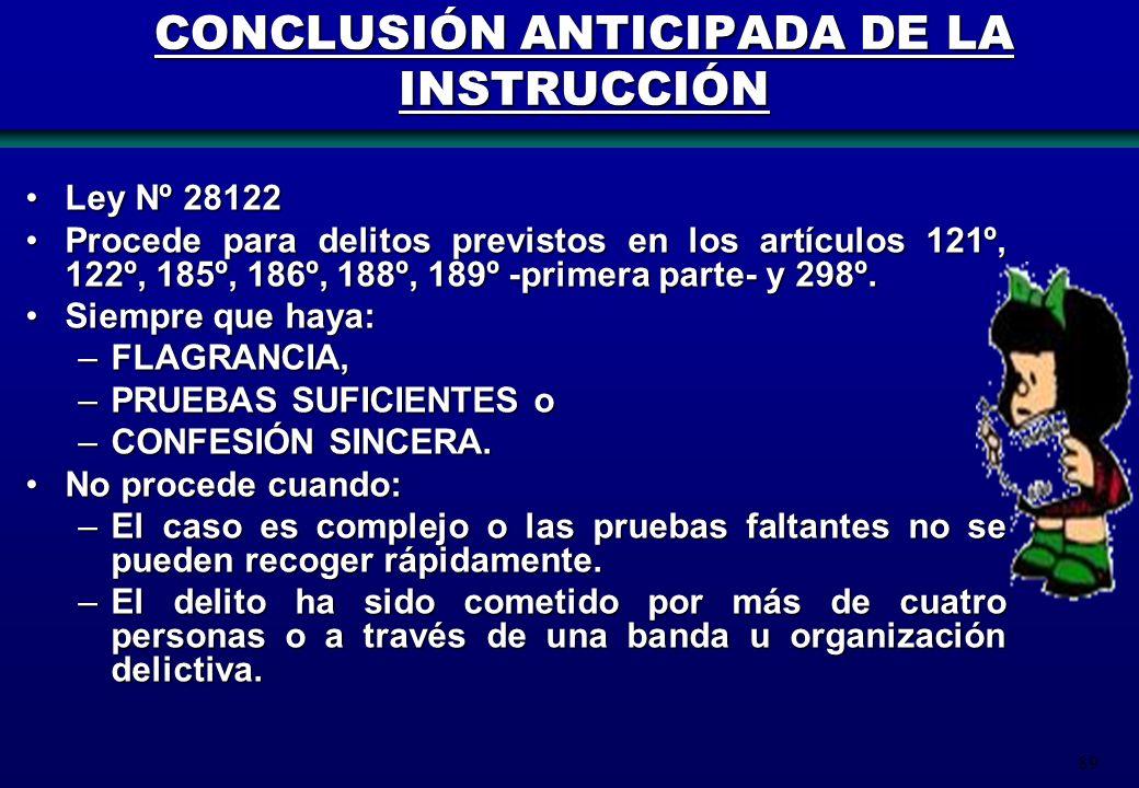 CONCLUSIÓN ANTICIPADA DE LA INSTRUCCIÓN