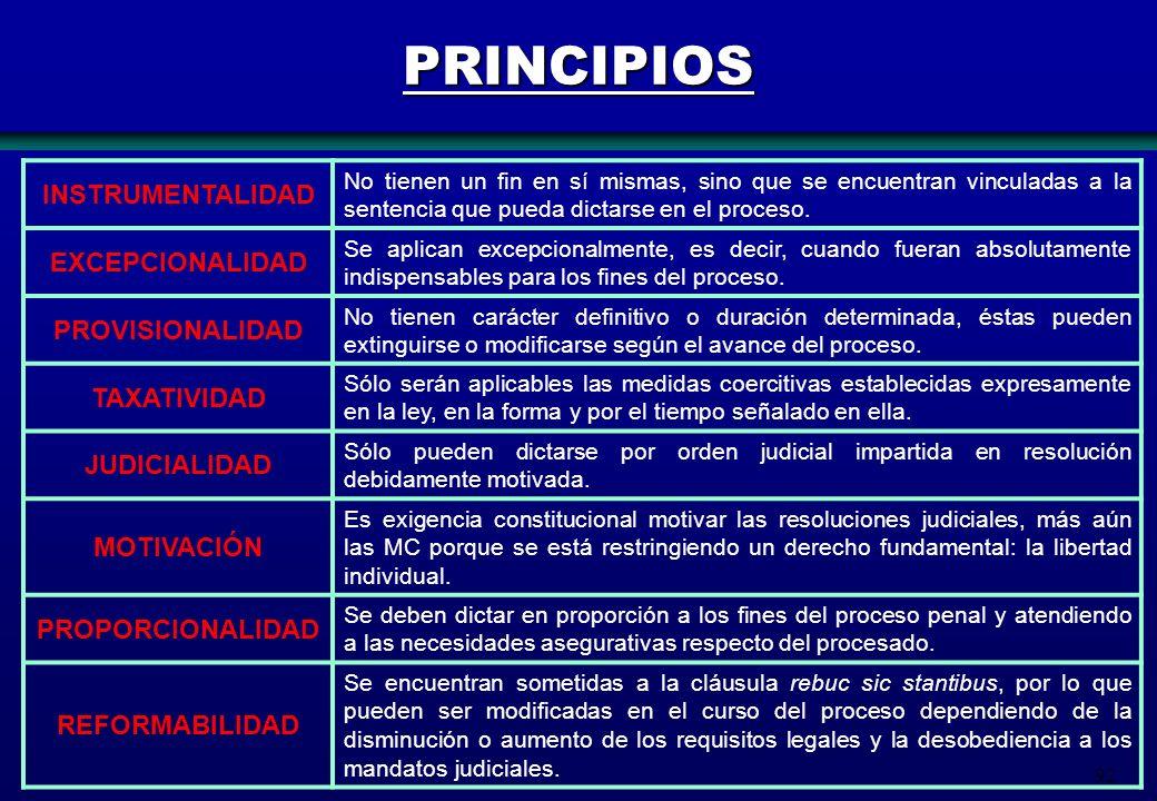 PRINCIPIOS INSTRUMENTALIDAD EXCEPCIONALIDAD PROVISIONALIDAD