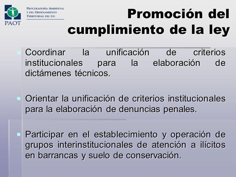 Promoción del cumplimiento de la ley